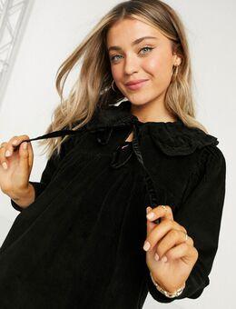 Gesmockte mini-jurk met peplum en corduroy kraag in zwart