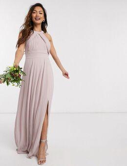 Exclusieve lange geplooide jurk voor bruidsmeisjes in roze