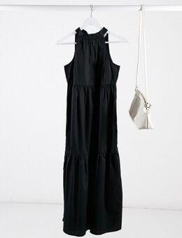 Lange jurk met stroken en halternek in zwart-Wit