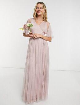 With Love - Lange bruidsmeisjesjurk van tule met fladdermouwen in roze