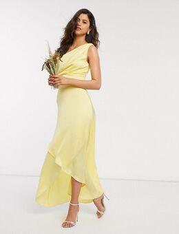 Bridesmaid - Langejurk met blote schouder in geel-Blauw