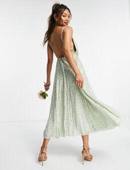 Midi-jurk met lovertjes en camibandjes in saliegroen