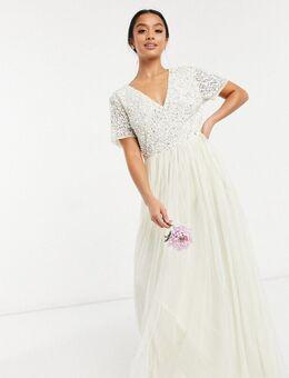Bruidskleding - Lange jurk van tule met V-hals en lovertjes in dezelfde kleurschakering in ecru-Wit