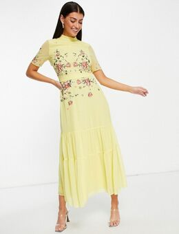 Geborduurde maxi jurk in geel