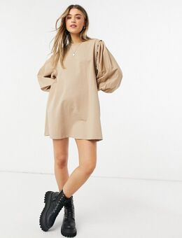Mini-sweaterjurk met pofmouwen in camel-Bruin