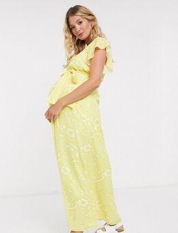 Twisted Wunder - Zwangerschapskleding -Lange jurk met ruches en bloemenprint in citroengeel