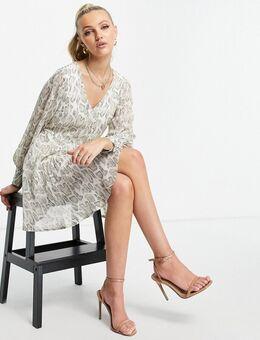 Midi-jurk met manchetten mouwen en dierenprint-Veelkleurig