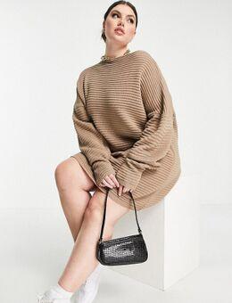 X Megan Mckenna - Gebreide, losvallende jurk met blote schouders in taupe-Neutraal