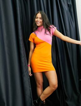 Exclusives - Bodycon mini jurk met kleurvlakken-Veelkleurig