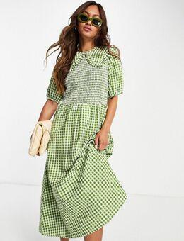Midi-jurk met gesmokt lijfje en oversized kraag van seersucker met gingham ruit-Groen