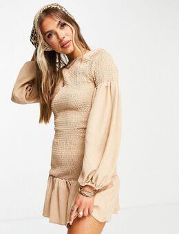 Gesmokte mini jurk met strook en wijde mouwen in beige-Neutraal