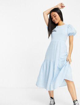 Elegante midi-jurk in blauw