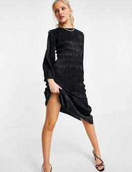 Gerimpelde midmaxi jurk van satijn in zwart