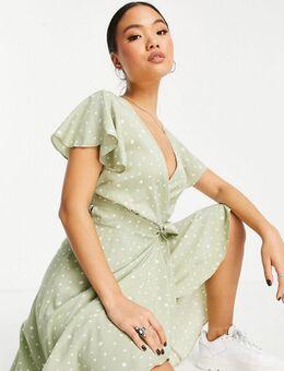 Nette midi jurk met overslag en stippenprint in saliegroen