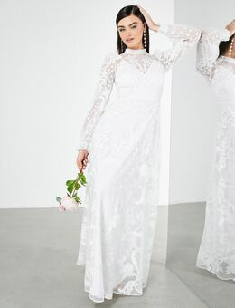 Violet - Hoogsluitende trouwjurk met verspreide borduursels-Wit