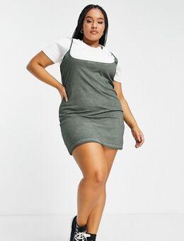 ASOS DESIGN Curve - 2 in 1 T-shirt en mini-jurk met extreme hals in kaki en wit-Groen