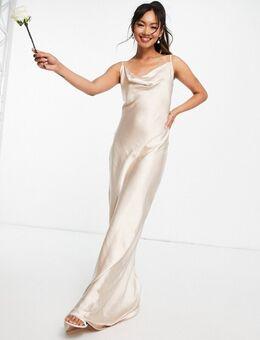 Keisha - Lange jurk met gedrapeerde halslijn in mat beigeroze