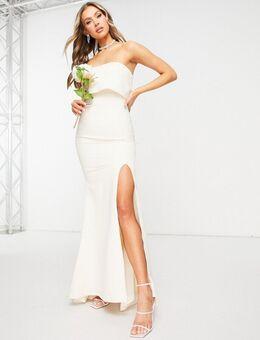 Maxi bandeau jurk met bovenlaag en dijsplit in ecru-Wit