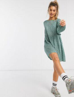 Aangerimpelde mini-jurk met fijne bloemenprint-Groen
