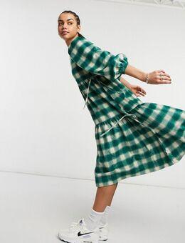 Oversized aangerimpelde midi jurk met ruitprint-Groen