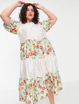 Aangerimpelde midi jurk in patchwork van verschillende bloemenprints en stippen-Meerkleurig