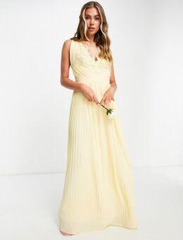Bruidsmeisjes - Lange chiffon jurk met V-hals in citroengeel