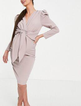 Midi jurk met gepofte schouders en gestrikte voorkant in mink-Roze