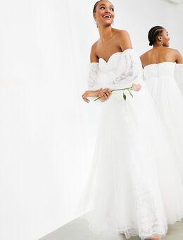 Mila - Trouwjurk van geborduurd mesh met blote schouders-Wit