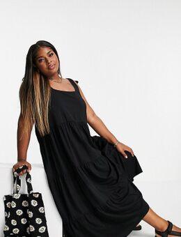 Curve - Gelaagde lange jurk met vierkante hals en gestrikte schouderbanden in zwart