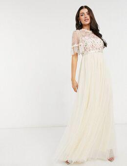 Halflange versierde jurk met stroken in champagne-Crème