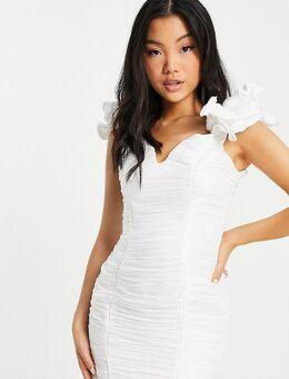 Gerimpelde mini-jurk met ruches op de schouders in ivoor-Wit