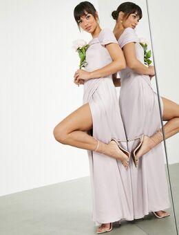 Lange satijnen jurk met gedrapeerde overslag en bardot-halslijn in bleek lavendel-Paars