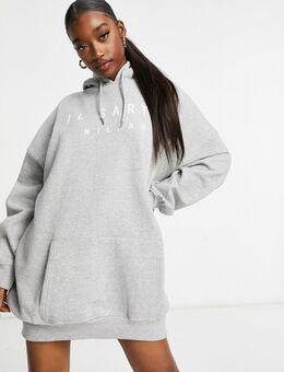 Oversized hoodie-jurk in grijs