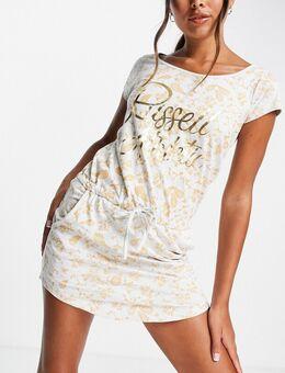 Jersey jurk met folieprint in wit