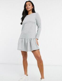 Sweatshirt-jurk met verlaagde zoom in lichtgrijs