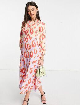 Midaxi-jurk met lange mouwen en vlekkenprint in contrasterende pasteltinten-Meerkleurig