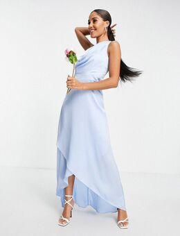 Bruidsmeisjes - Lange jurk met blote schouder in lichtblauw