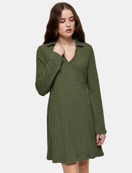 Mini-jurk met kraagje in kaki-Groen