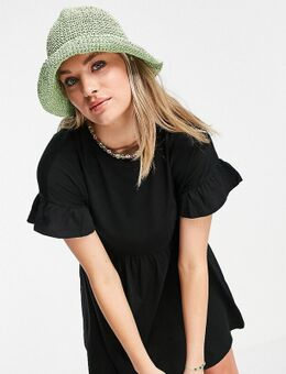 Babydoll jurk van jersey in zwart