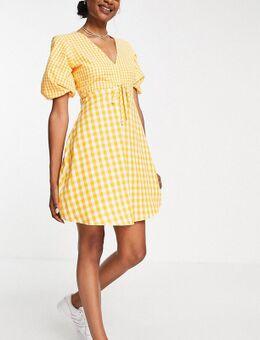 Nette mini jurk in geel met gingham ruit