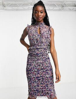 Midi-jurk van mesh met print-Veelkleurig