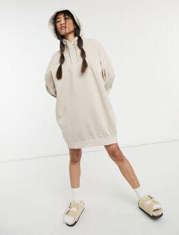 Lizette - Mini hoodie-jurk van organische katoenblend in beige-Neutraal