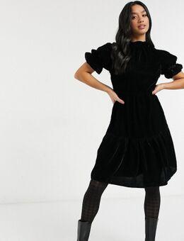 Fluwelen mini-jurk met stroken-Zwart