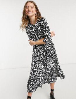 Gelaagde, aangerimpelde midi jurk met lange mouwen en stippen in zwart