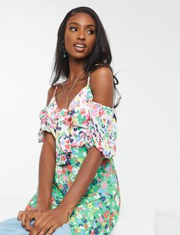 Off shoulder mini-jurk met contrasterende bloemenprint-Multi