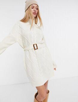 Kabelgebreide trui-jurk in wit