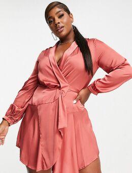 Club L London Curve - Satijnen gestrikte jurk in roestbruin-Koper
