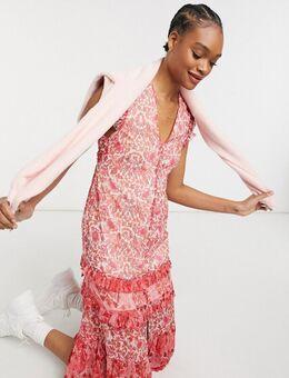 Midi jurk met ruches bij de mouwen in gemixte print-Rood