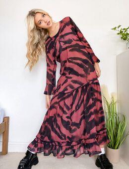 Lange jurk in dierenprint-Multikleur