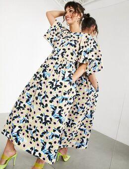 Katoenen midi-jurk met bloemenprint-Meerkleurig